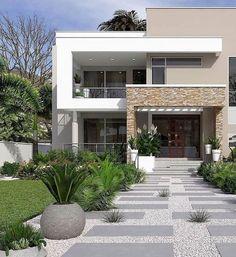 48 Ideas for house facade design modern architecture arquitetura House Front Design, Modern House Design, Facade Design, Exterior Design, Modern Minimalist House, Dream House Exterior, House Entrance, Facade House, Modern Exterior