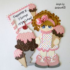 newly listed on ebay...danderson651  paperdesignz.com paper piecing, summer, girl, scrapbooking, ice cream