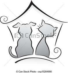 Vector - Cat and Dog Shelter - stock illustration, royalty free illustrations, stock clip art icon, stock clipart icons, logo, line art, EPS picture, pictures, graphic, graphics, drawing, drawings, vector image, artwork, EPS vector art