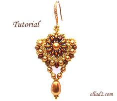 Tutorial Sunflower Earrings  Beading tutorial PDF by Ellad2, $5.00