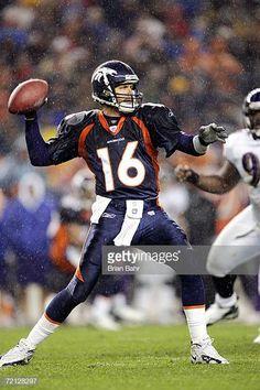 0861675c432 Jake Plummer of the Denver Broncos throws against the Baltimore Ravens in  the second quarter on