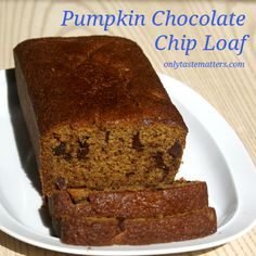 Pumpkin Chocolate Chip Loaf.  For the #recipe, visit OnlyTasteMatters.com. #glutenfree