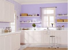 possible new kitchen color, debating between a light lavender or a darker lavender . purple kitchen walls - Google Search