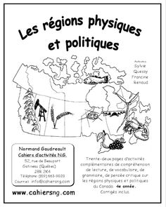 PDF – Les régions physiques et politiques Trente-quatre pages d'activités complémentaires de compréhension de lecture, de vocabulaire, de grammaire, de pensée critique sur les régions physiques et politiques du Canada.  4e année.  Corrigés inclus. Auteures: Francine Renaud et Sylvie Quessy. Disponible maintenant!! Study French, French Kids, History For Kids, History Teachers, Elementary Music, Elementary Schools, Geography Of Canada, Physique, My Future Job