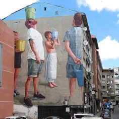 """'Pray For Rain' In Istanbul, Turkey from Fintan Magee @fintan_magee for @muralistanbul • """"In 2008 my home city of Brisbane was hit with level 6 water restrictions following over a decade of drought. At it's peak our cities water supply dropped to 16% and garden hoses were banned as people were advised to only take 5 minute showers. To deal with the water shortage many city residents would shower with buckets, collecting the excess soapy water so they could use it to wash their cars and water…"""
