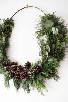 Make a giant DIY rustic Christmas wreath! Making your own Christmas decorations is a great way to decorate for Christmas on a budget, and this large, natural Christmas wreath is no exception. This post shows you how to make your own Christmas wreath using Diy Snowman Decorations, Easy Christmas Decorations, Christmas Wreaths To Make, Holiday Wreaths, Ornaments Ideas, Handmade Decorations, Rustic Christmas Ornaments, Noel Christmas, Simple Christmas