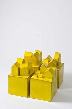 Fausto Salvi yellow ceramic houses on cubes Clay Houses, Ceramic Houses, Putz Houses, Miniature Houses, Wooden Houses, 3d Home, Home Art, Ceramic Pottery, Ceramic Art