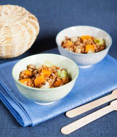 Salade de petit épeautre à la courge butternut et aux poireaux (plat végétarien)