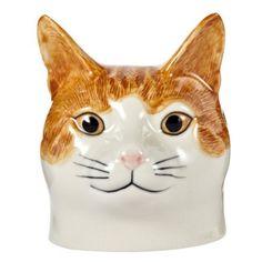 Caille céramique-Coquetier en forme de tête de chat Ginger Tabby & Squash (Blanc)