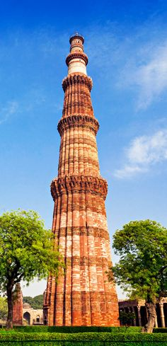 Famous Qutub Minar Tower in New Delhi, India is the second tallest minar in India. Located in Delhi, the Qutub Minar is made of red sandstone and marble. The stairs to the tower has 379 steps.  Construction started in 1193.  An UNESCO World Heritage Site since 1993.  Photo: amongraf.ro/photosofIndia