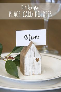 DIY House Place Card Holders...from scrap wood! | via www.makeit-loveit.com