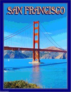 San Francisco California Golden Gate United States Travel Advertisement Poster