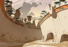 Oban Star Racers background design (Thomas Romain)