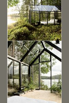 magical forest cabin getaway..   with vinyl player ! I want one. Imagine waking up in the morning and looking at this view!