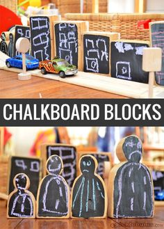 Chalkboard blocks are an easy DIY toy hack. Kids love playing with these blocks! Drawing Activities, Preschool Activities, Preschool Classroom, Kindergarten Inquiry, Reggio Classroom, Kindergarten Centers, Outdoor Classroom, Classroom Design, Classroom Ideas