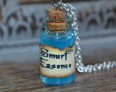 Handmade Smurf Essence small Potion Bottle Necklace - The Smurfs