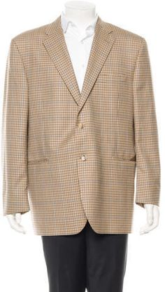 $175, Tan Plaid Blazer: Burberry Wool Blazer. Sold by TheRealReal. Click for more info: https://lookastic.com/men/shop_items/315012/redirect