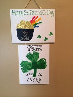 St Patricks day baby hand and foot print art