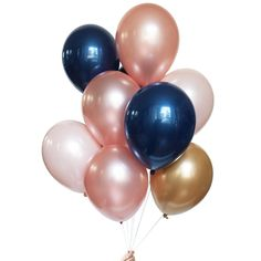 Gorgeous rose gold and navy balloon bouquets available in our shop