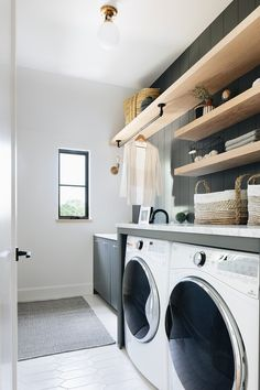 Laundry room space at our modern English farmhouse project. Küchen Design, House Design, English Farmhouse, Farmhouse Style, Laundry Room Inspiration, Farmhouse Laundry Room, Modern Laundry Rooms, Laundry Room Design, Laundry Room Shelving