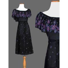 Vintage Boho 70s Dress / Black Floral Chiffon by recyclinghistory