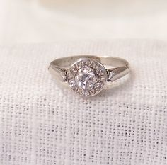 Art Deco Platinum Diamond Engagement Ring by MagpieVintageJewelry