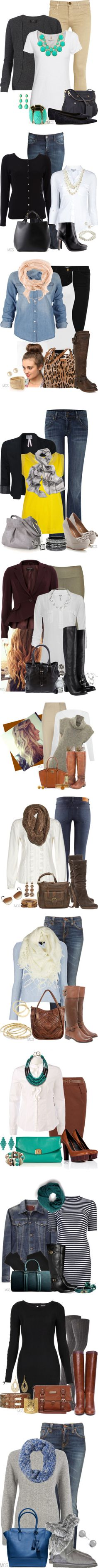 """""""Trends"""" by mclaires ❤ liked on Polyvore.  Love most all these outfits. Maybe not heels, but love the rest!  Wish I had someone to put my outfits together each day!"""