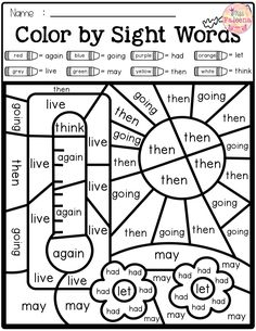 There are 20 pages of color by sight words worksheets in Spring Color by Code-Sight Words First Grade. These pages are fun and effective way to reinforce all of the first grade Dolch Sight Words with safari, pirate, ocean and summer theme. Pre- K Kindergarten Colors, Homeschool Kindergarten, Preschool Learning, Teaching, Kindergarten Reading Activities, Homeschooling, Sight Word Worksheets, Sight Word Activities, Kindergarten Worksheets