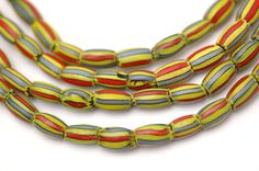Yellow Red GreyBlue Old African Trade Beads by WomanShopsWorld, $78.00