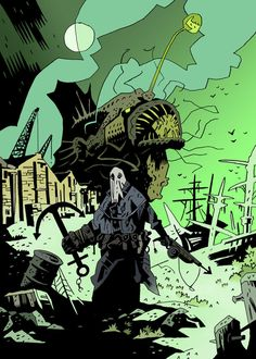 Old One by Kisufisu on DeviantArt Horror Comics, Horror Art, Comic Books Art, Comic Art, Dark Fantasy, Fantasy Art, Comic Style Art, Comic Styles, Mike Mignola Art