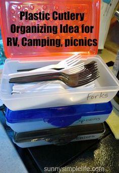 Plastic Silverware Organizing Idea for RV, Camping, Picnics