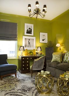 Green walls, charcoal & gold accents. Benjamin Moore Forest Moss.
