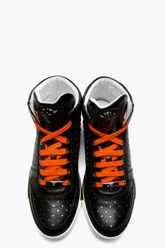 VERSACE Black Leather Hi Top Sneakers