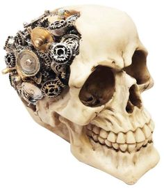 f7b1a1d2be6 Clockwork Thinking Skull Realistic Human Head Figurine Gear Sculpture Art  Decor
