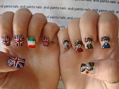 nail art, One Direction, flags, cartoon (inspired by beauty in a bottle)