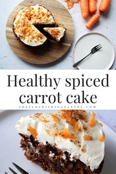 Healthy and wholesome cinnamon spiced carrot cake. Made with wholemeal flour and sweetened with carrot, cinnamon and sultanas this is a tasty and easy recipe for all the family to enjoy #theflourishingpantry #healthyrecipe #carrotcake #eatwelllivewell #healthyeating Carrot Spice Cake, Easy Carrot Cake, Healthy Carrot Cakes, Healthy Cake Recipes, Healthy Sweet Treats, Dessert Recipes, Carrot Recipes, Whole Food Recipes, Healthy Freezer Meals