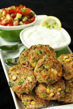 The Café Sucré Farine: Chicken, Zucchini & Fresh Corn Burgers w/ Green Onion & Cumin