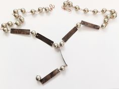 Ketten - Shell Perlen Lariat Kette mit Kupfer - ein Designerstück von tizianat bei DaWanda