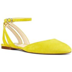 Nine West Begany Suede Flats ($69) ❤ liked on Polyvore featuring shoes, flats, yellow, yellow shoes, ankle wrap shoes, yellow flats, nine west shoes and ankle tie flats