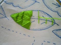 Embroidered leaf