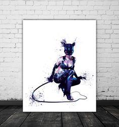 Catwoman Art, DC Comics Wall Art, Watercolor Cat Woman Print, Batman Returns, Comic Book Art, Movie Lover Gift, Sexy Art, Bad Girl DC Print by PRINTANDPROUD on Etsy