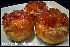 Cocinando a mis amores: Champiñones rellenos de pollo con manzana,queso de...