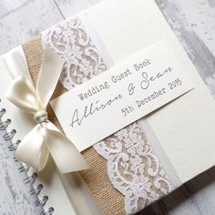 BURLAP/HESSIAN & LACE WEDDING GUEST BOOK with SATIN BOW  This beautiful guest book would make a lovely addition to your rustic styled wedding