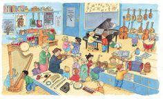 Praatplaat Bas - Muziekwinkel  (Getekend door Dagmar Stam)