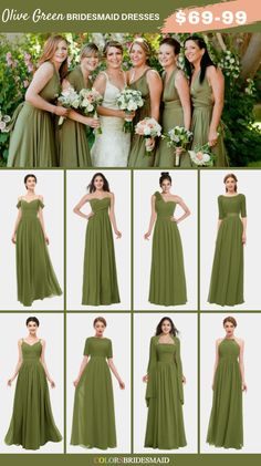 Bridesmaid dresses, kindly read this gorgeous and sweet pin photo ref 5631860917 here. Olive Green Bridesmaid Dresses, Bridesmaid Dress Colors, Olive Green Dresses, Wedding Bridesmaid Dresses, Yellow Bridesmaids, Olive Green Weddings, Moss Green Wedding, Donia, Bride Gowns