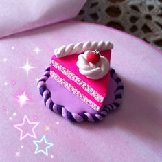 Pink polymer clay cake.