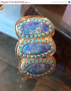 VSALE Fiery triple Opal and turquoise by YaronaJewelryDesign, $341.10
