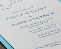 Embossed letterpress wedding invitation on luxury card stock Classic Wedding Stationery, Luxury Card, Seaside Wedding, Letterpress Wedding Invitations, Island Weddings, Card Stock, Cards, Paper Board, Maps