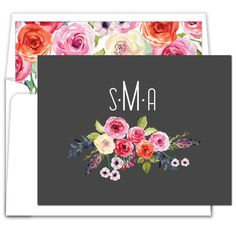 Black Floral Bunch Foldover Note Cards