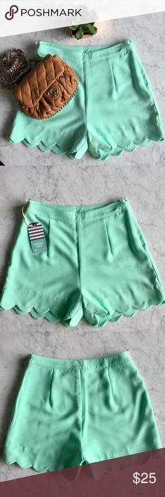 Double Zero Mint Scalloped Shorts Summer Ready! Hi rise style. Fits true to size. Double Zero Shorts